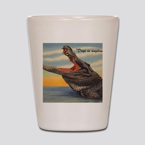 Vintage Alligator Postcard Shot Glass