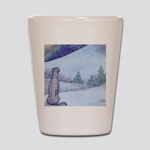 Greyhound whippet silent night Shot Glass