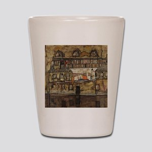 House Wall on the River by Egon Schiele Shot Glass