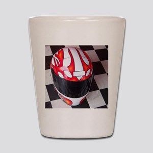 Race Helmet on Checkered Flag Shot Glass