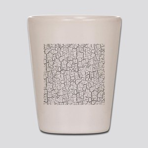 White Crackled Paint on Black Backgroun Shot Glass