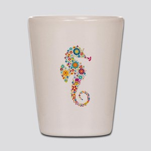 Cute Colorful Retro Floral Sea Horse Shot Glass
