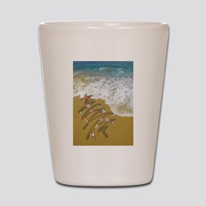 Christmas Seashells and Tree Washed Up Shot Glass