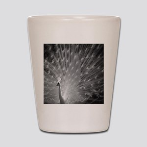 Peacock - Black and White Shot Glass