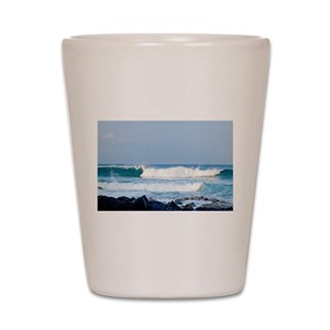 Hawaii coast ocean waves Shot Glass