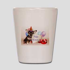 Happy Birthday Chihuahua dog Shot Glass