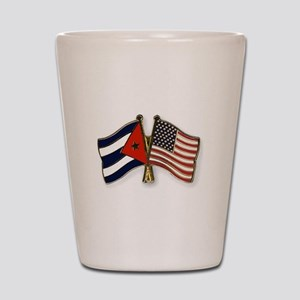 Cuban flag and the U.S. flag Shot Glass