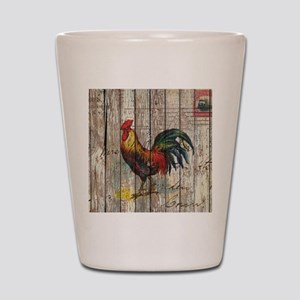 rustic farm country rooster Shot Glass