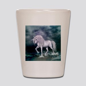 Wonderful unicorn on the beach Shot Glass