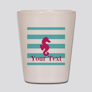 Personalizable Teal Eggplant Sea Horse Shot Glass