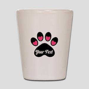 d4eadb8682a8 Personalizable Paw Print Pink Shot Glass