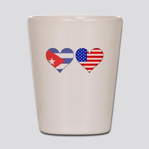 Cuban American Hearts Shot Glass