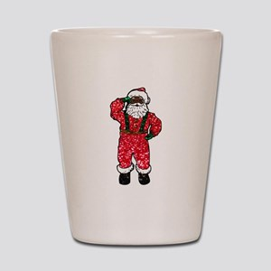 glitter black santa claus Shot Glass