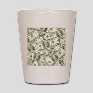 100 Dollar Bill Money Pattern Shot Glass