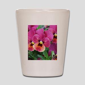 European Garden Pink Pansy Flower Shot Glass