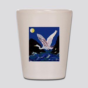White Crane Spreads Its Wings Shot Glass