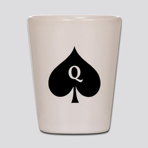 Queen of Spades With Q inside of Logo Shot Glass