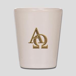 """""""3-D"""" Golden Alpha and Omega Symbol Shot Glass"""