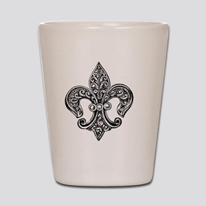 Vintage Black and White Fleur De Lis Shot Glass
