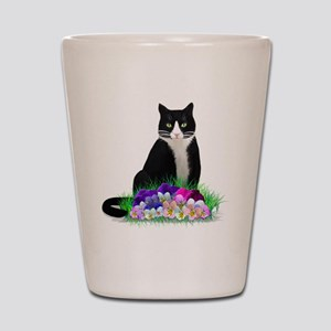 Tuxedo Cat and Pansies Shot Glass