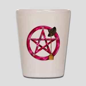 Pink Pentacle Broom - Hat Shot Glass