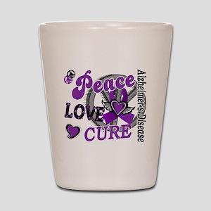 Peace Love Cure 2 Alzheimers Shot Glass