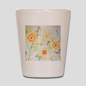 Watercolor Daffodils Pattern Shot Glass