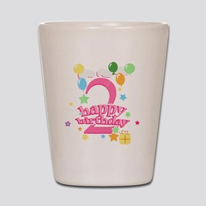 2nd Birthday with Balloons - Pink Shot Glass