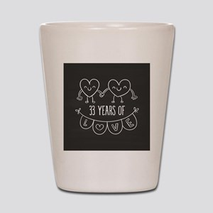 33rd Anniversary Gift Chalkboard Hearts Shot Glass