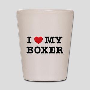 I Heart My Boxer Shot Glass
