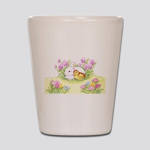 Easter Bunny, Duckling and Flowers Shot Glass