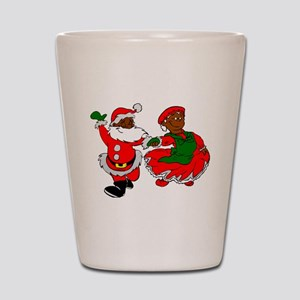 black santa mrs claus Shot Glass