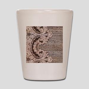 rustic wood lace Shot Glass