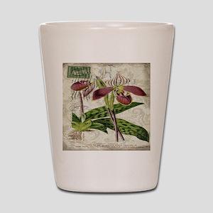 vintage orchid botanical art Shot Glass