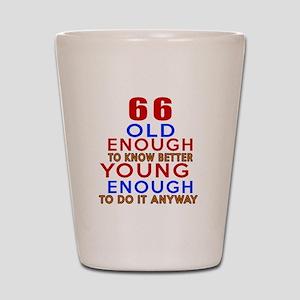 66 Old Enough Young Enough Birthday Des Shot Glass