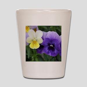 Italian Purple and Yellow Pansy Flowers Shot Glass