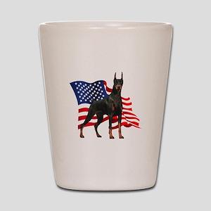 American Flag Doberman Shot Glass