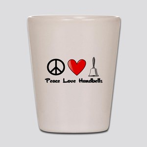 Peace, Love, Handbells Shot Glass
