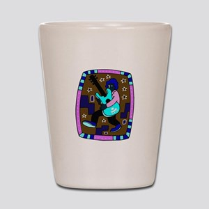male carrying 5 string bass blue graphic Shot Glas