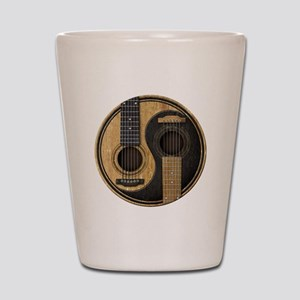 Old and Worn Acoustic Guitars Yin Yang Shot Glass