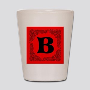 Red Personalized Monogram Initial Shot Glass