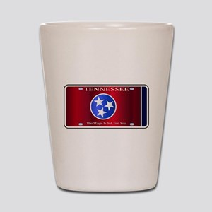 Tennessee State License Plate Flag Shot Glass