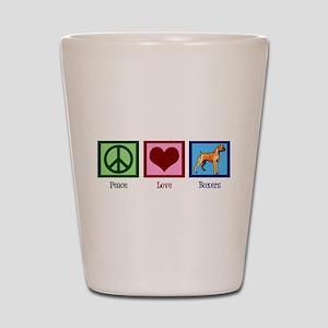 Peace Love Boxer Dog Shot Glass