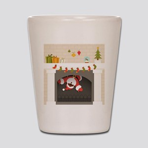 black santa stuck in fireplace Shot Glass