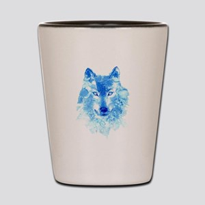 Watercolor Winter Wolf Shot Glass