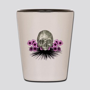 Skull in flowers Shot Glass
