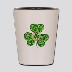 Glitter Shamrock And Horseshoe Shot Glass