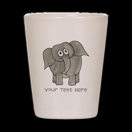 Elephant. Custom Text. Shot Glass
