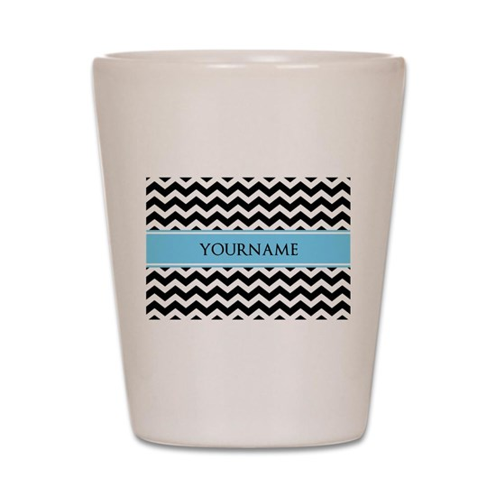 Black White Chevron Blue Monogram