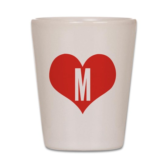 Heart M letter - Love Shot Glass
